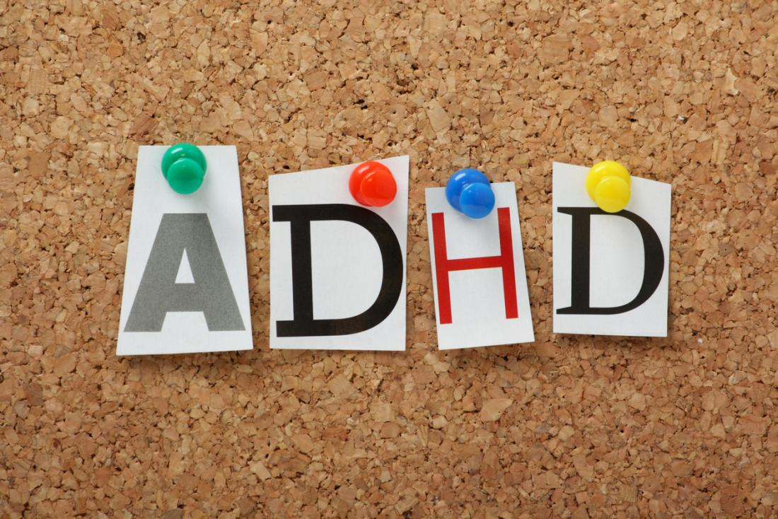 a noticeboard with ADHD pinned on
