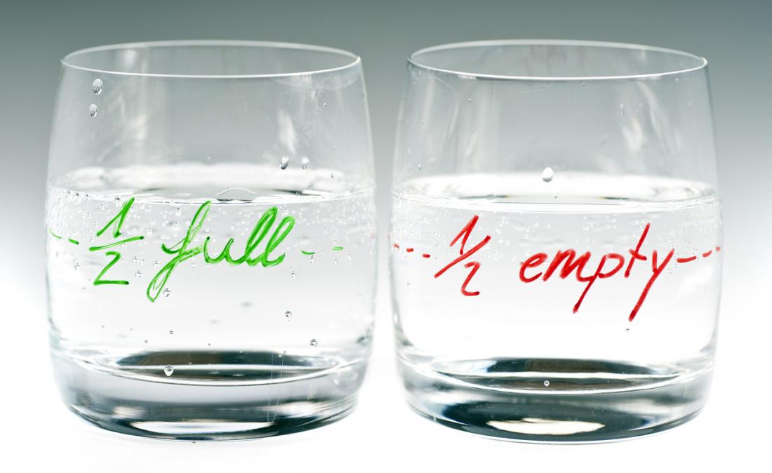 glass half empty and half full
