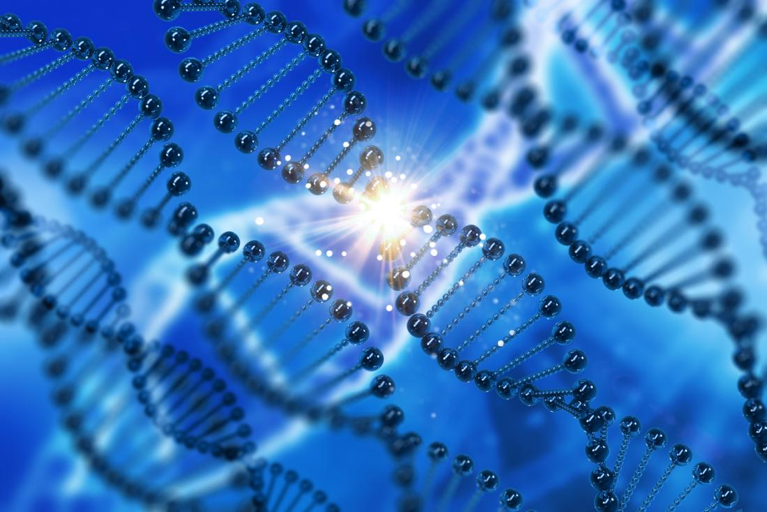 Strands of DNA on a blue background