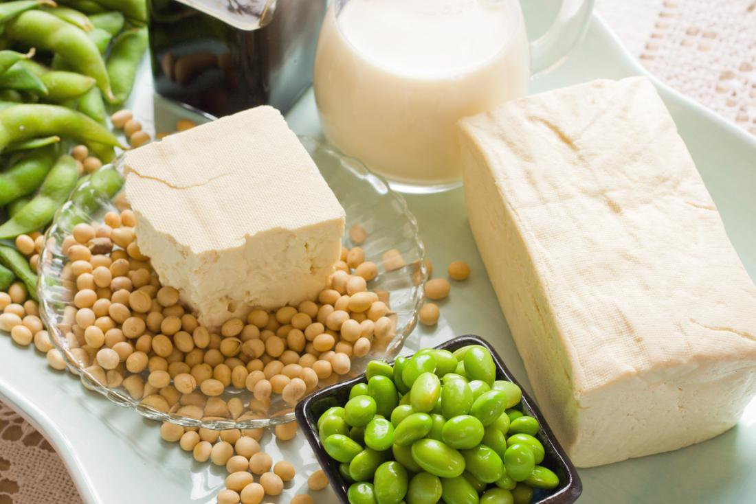 a selection of soy products