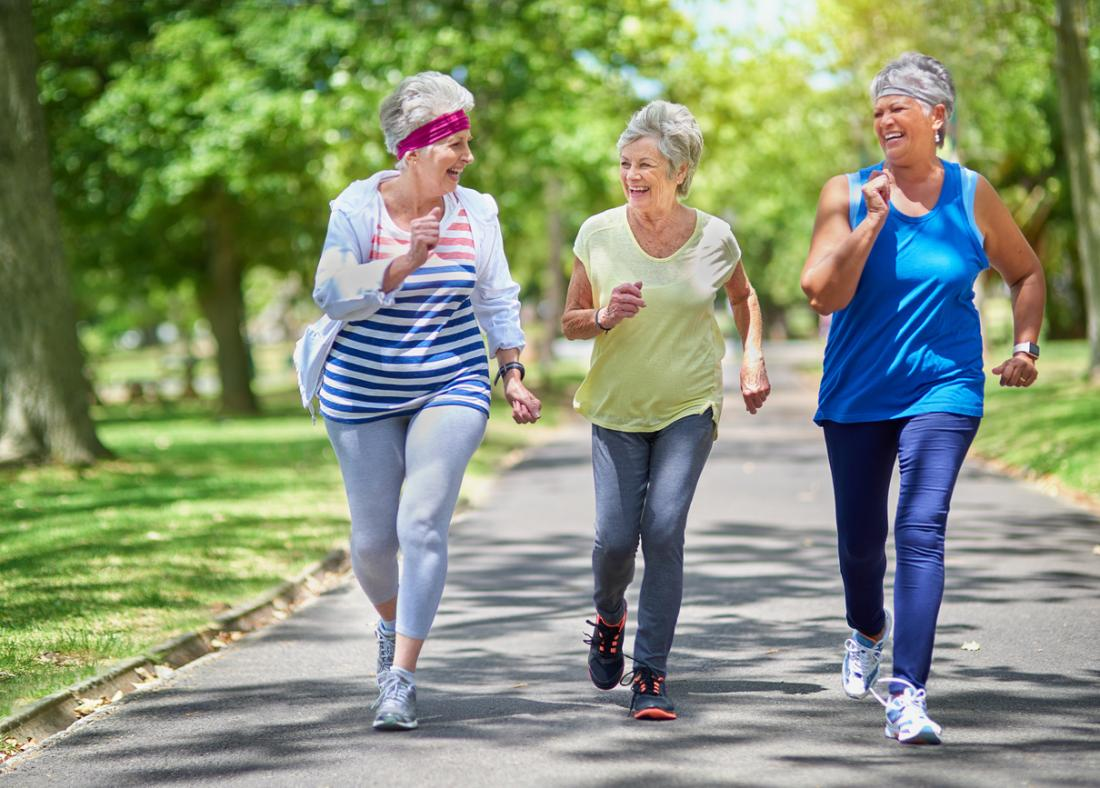 older women on brisk walk