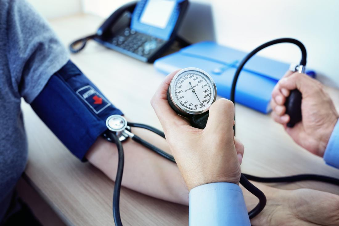 a doctor measuring a patients blood pressure