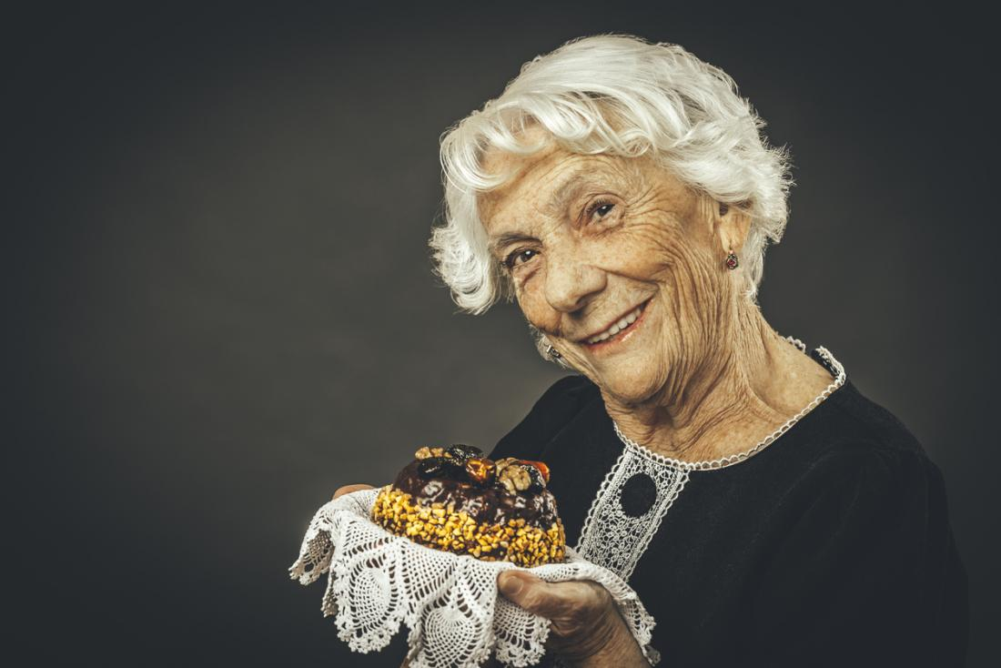 grandmother with cake