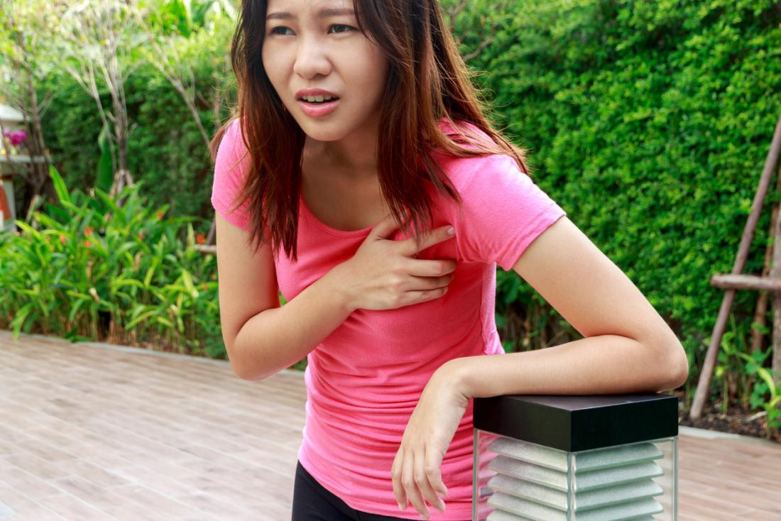 Woman outside with pain in her chest, feeling faint and dizzy, short of breath.