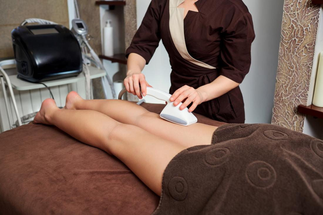 CoolSculpting, or cryolipolysis on woman's legs.