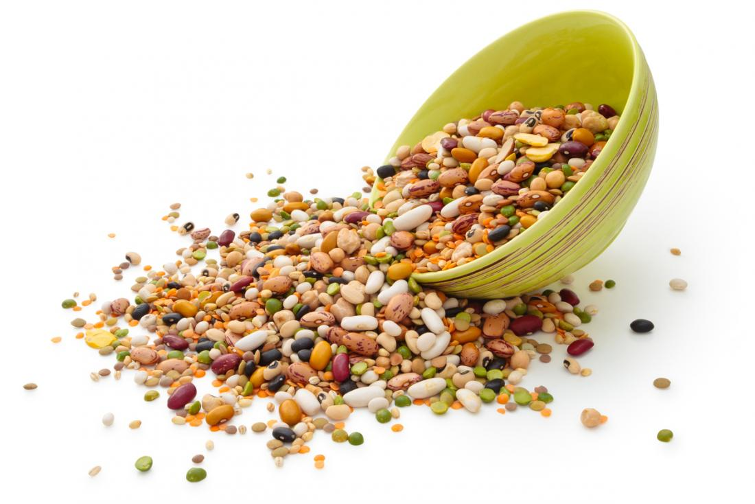 beans and grains tipping out of cereal bowl
