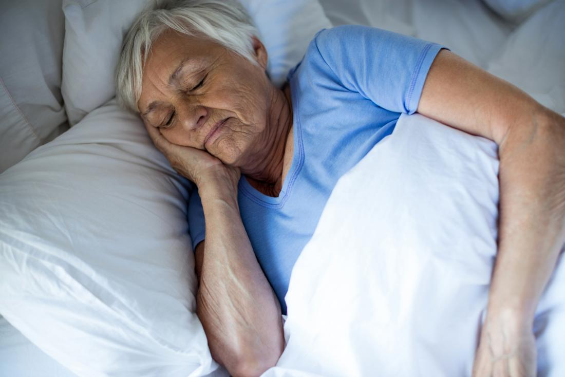 a senior woman sleeping