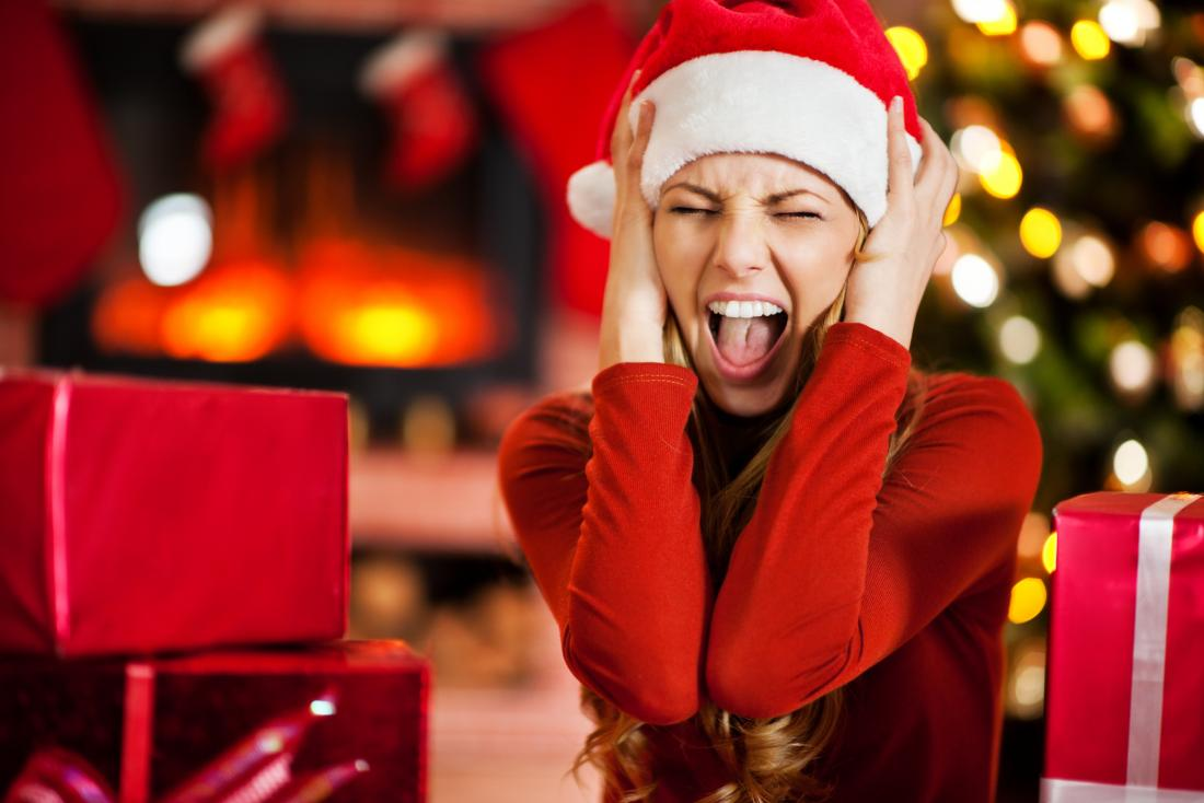 Woman stressed at christmas