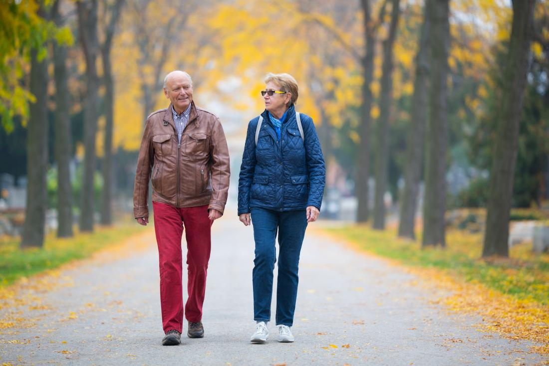 seniors walking in the park