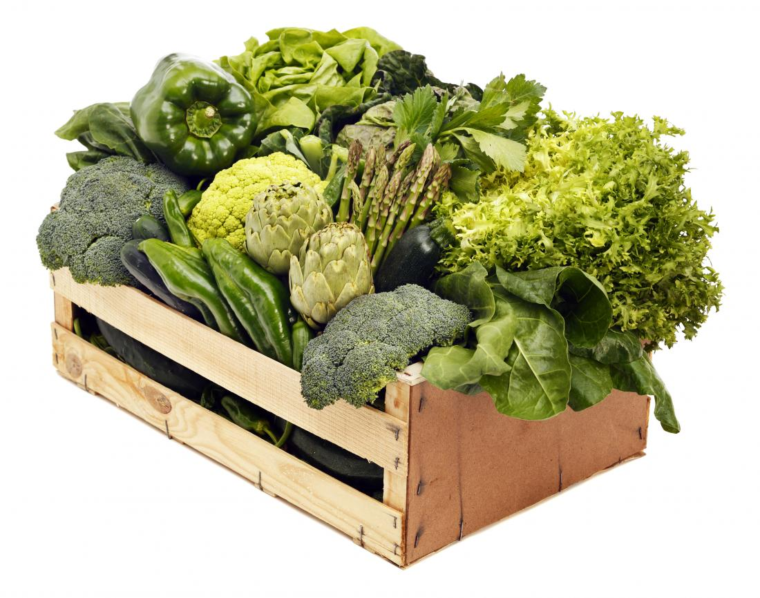 box of leafy green vegetables