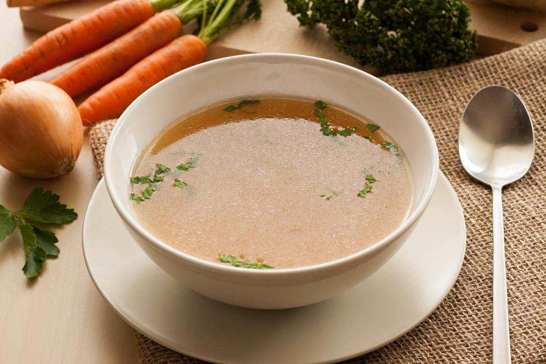 Clear vegetable soup broth.