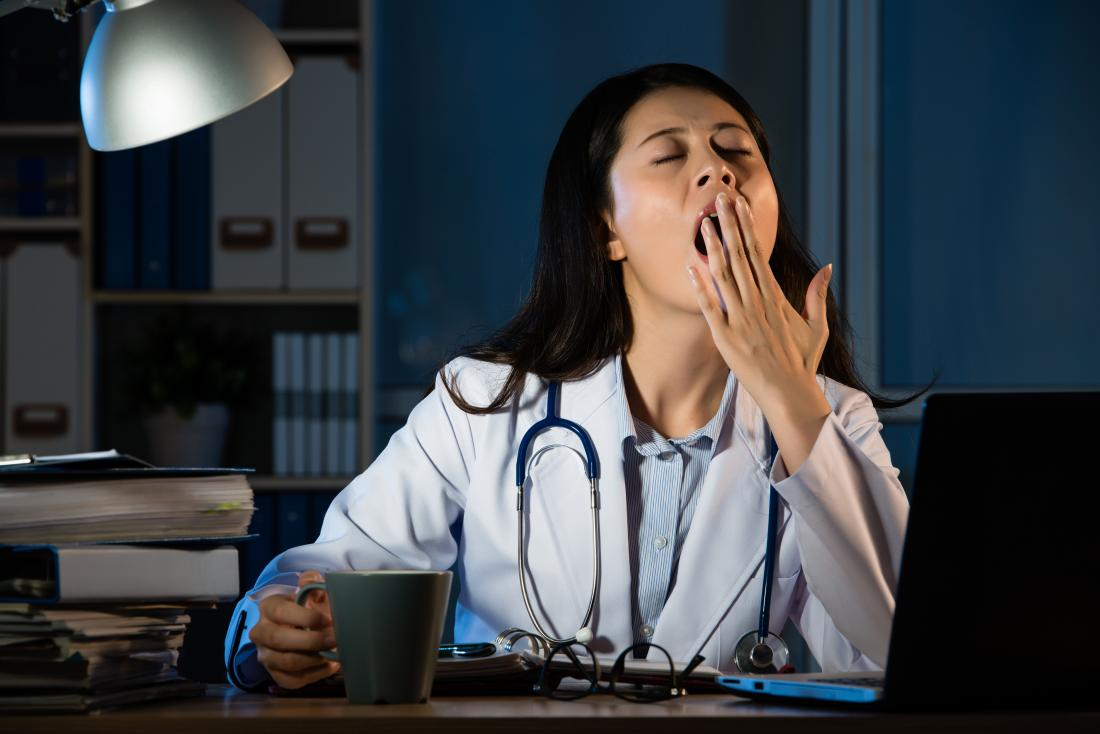 a female doctor working at night