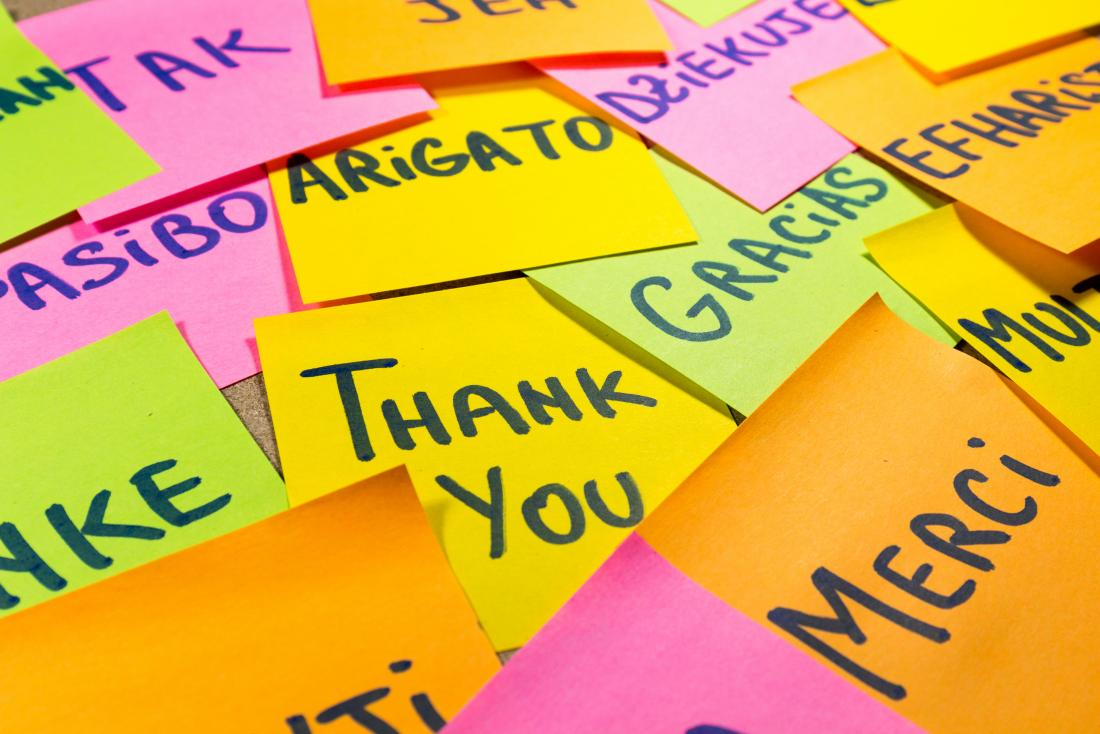 Post-its with thank you written in different languages