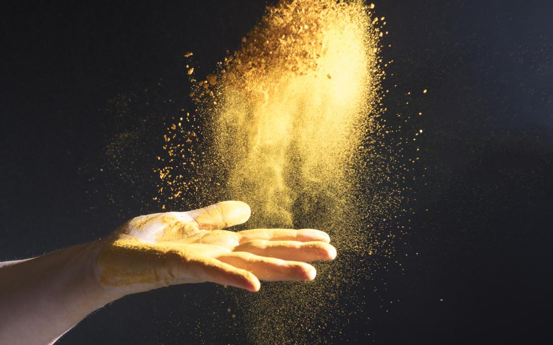 Turmeric thrown into the air. May help with IBS
