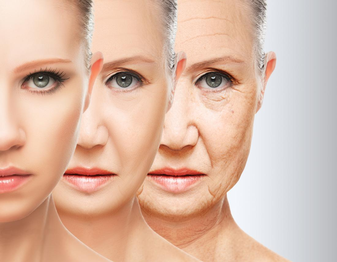 Woman aging in three stages