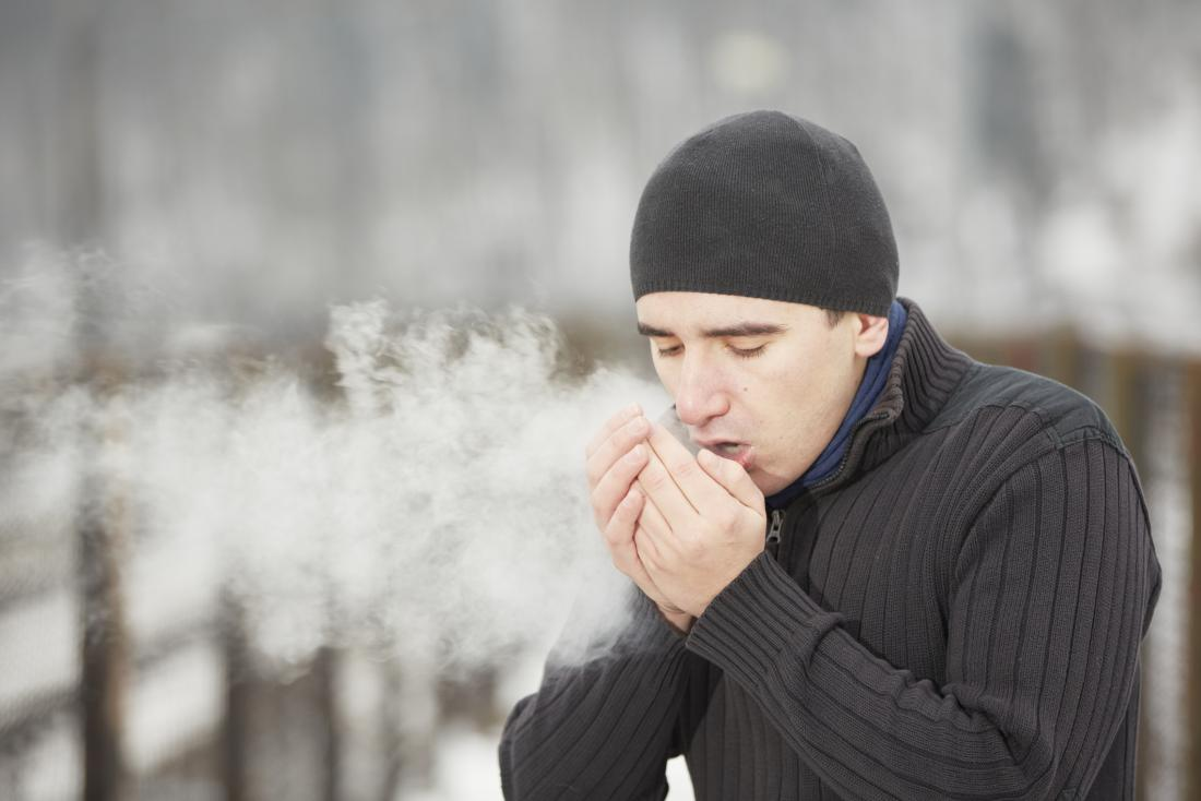 a man breathing in cold temperatures