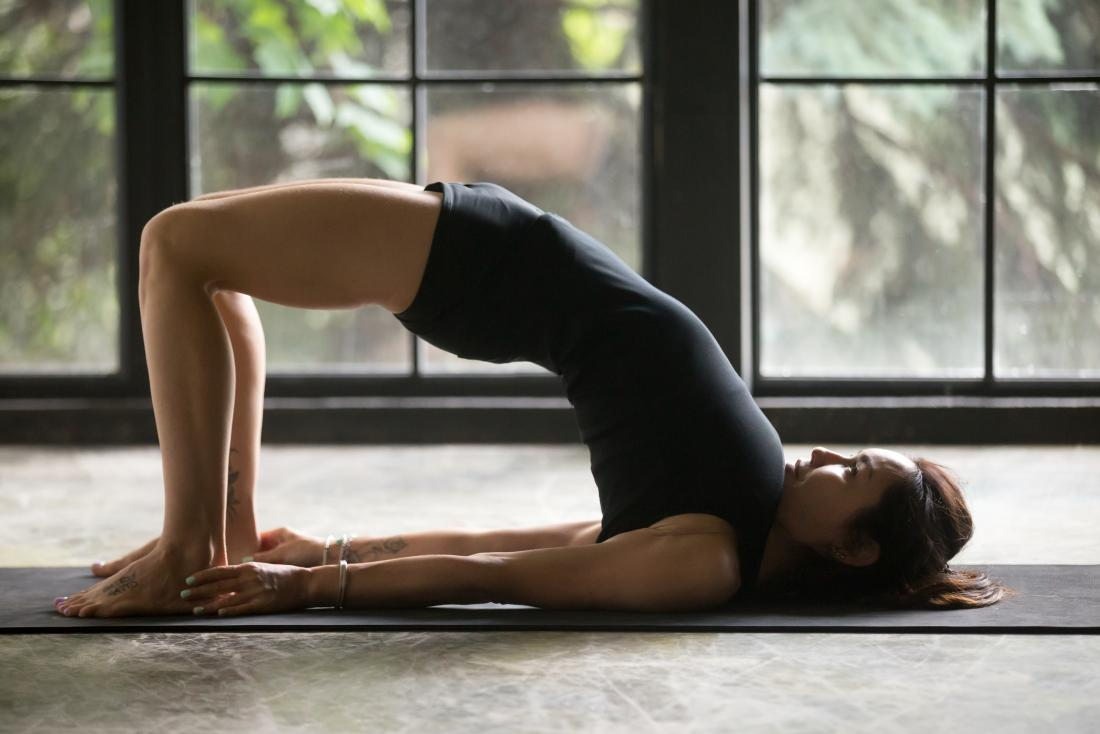 Bridge Pose or Setu Bandha Sarvangasan yoga pose.