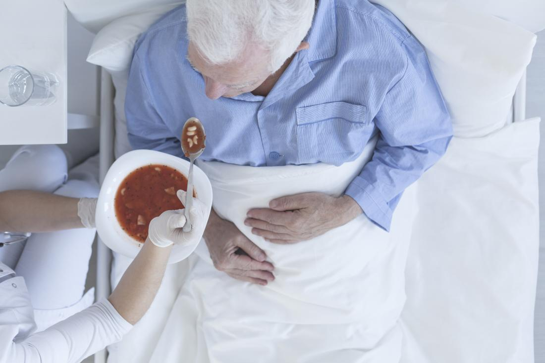 older man being fed in a hospital bed, decreased appetite may be a sign of death