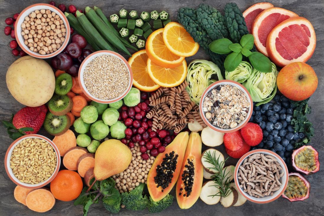 fruits, vegetables, and whole grains