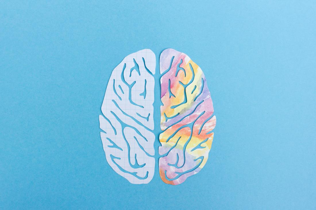 Left brain and right brain hemispheres represented by illustration with plain and colorful sides of brain on blue background.