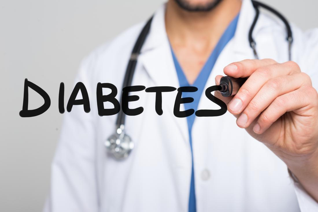 a doctor writing the word diabetes