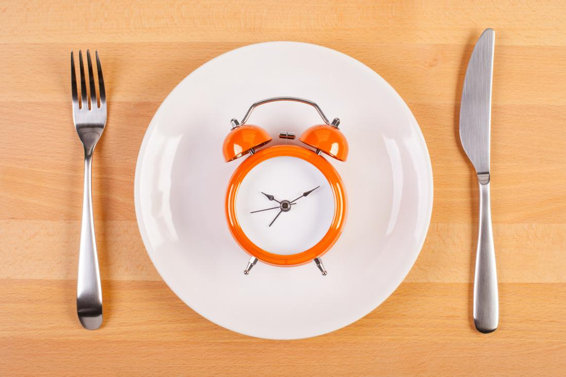 an alarm clock on a plate with a knife and fork