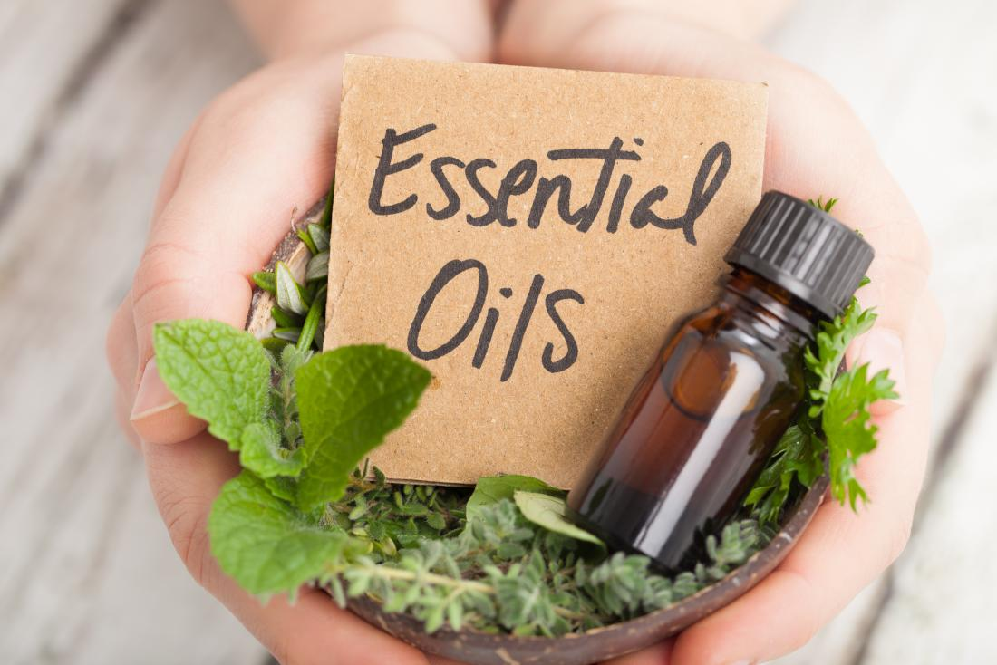 essentials oils in hands