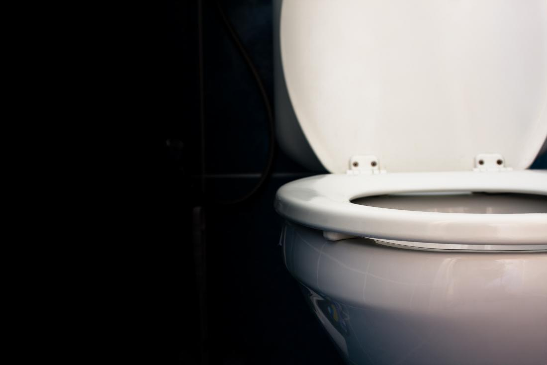 white toilet with seat up