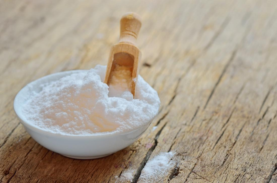 baking soda in a bowl which may be used on the hair