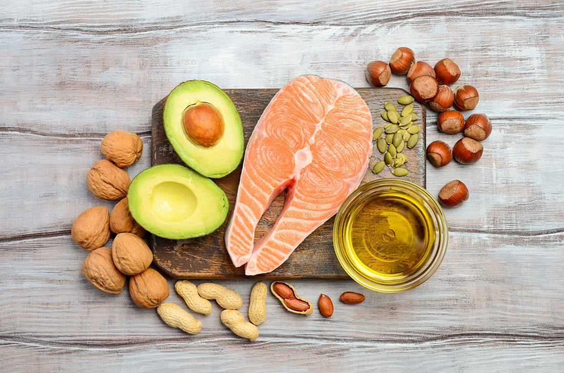 image of salmon, olive oil, nuts and avocado that may help to unclog arteries