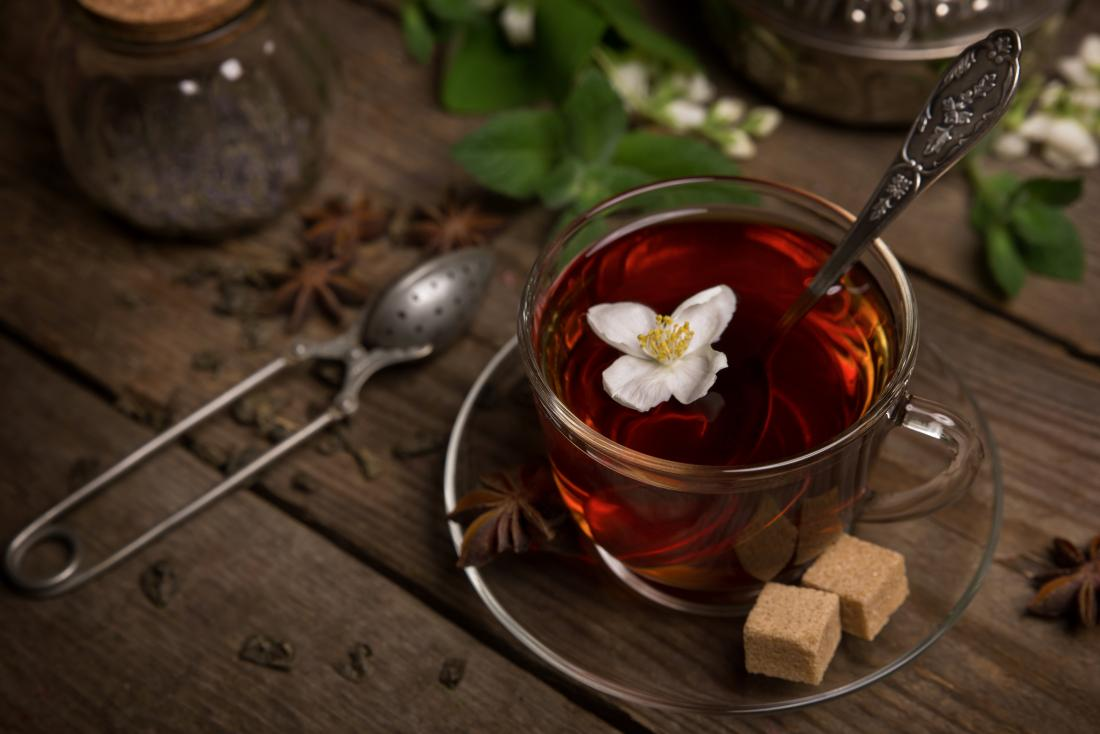 cup of tea with jasmine flower