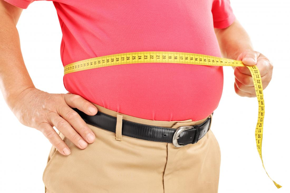 man measuring his belly