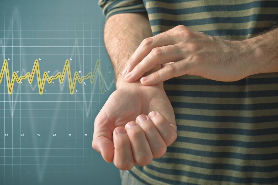 Person lowering their heart rate with fingers on wrist to measure pulse.