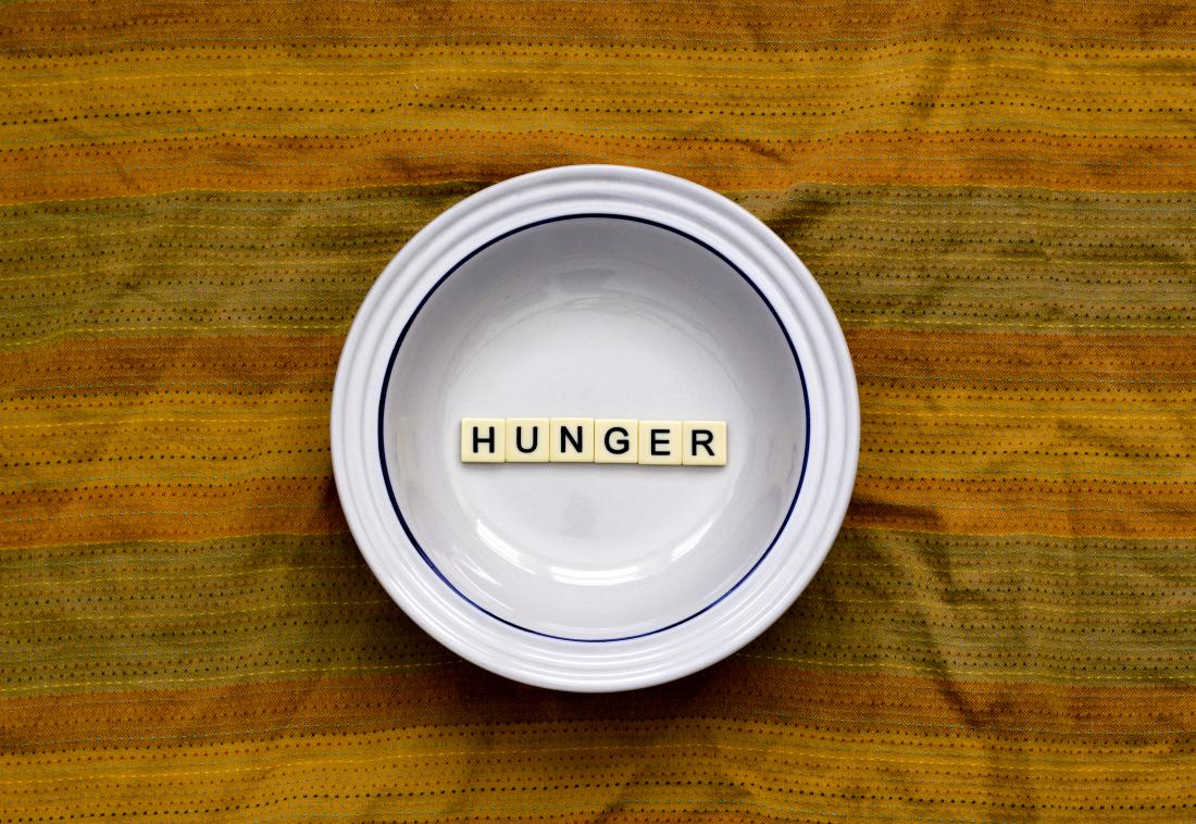 Hunger written in a white plate