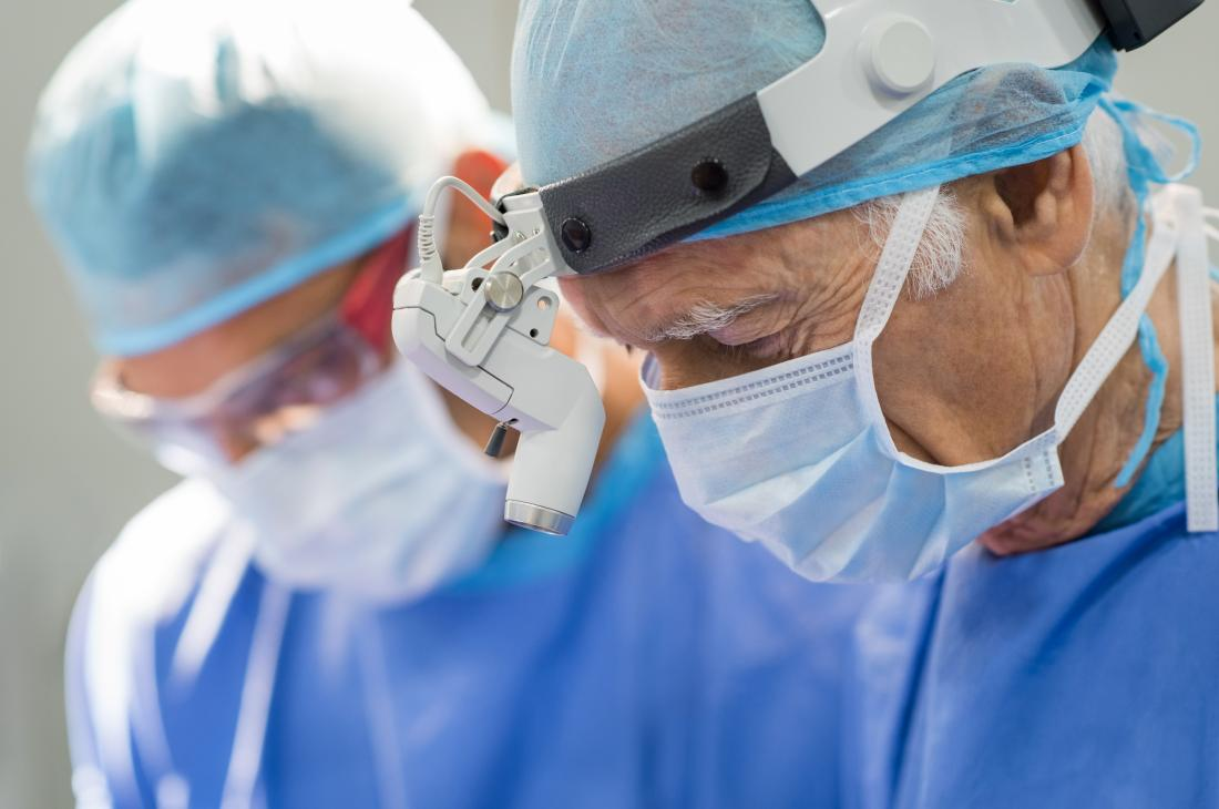 Surgeon working on vaginal hysterectomy