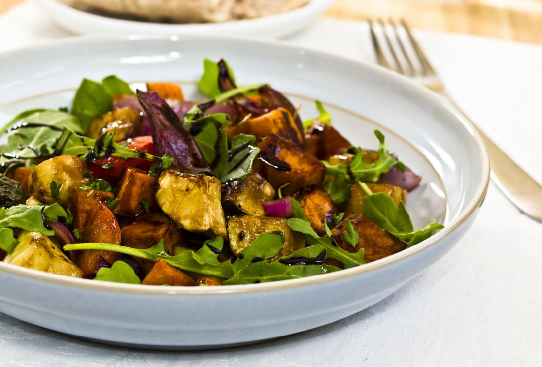 Healthy salad with aubergine