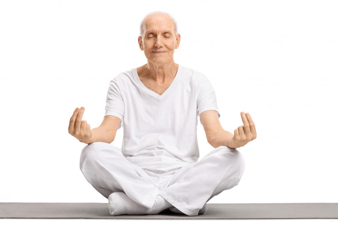 Older adult meditating