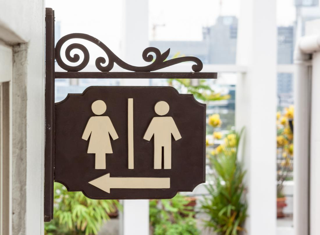 Male and female toilet sign. how often should you pee