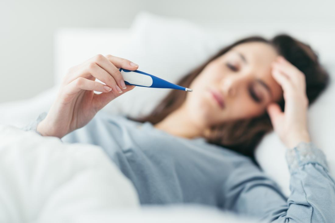 Woman in bed with a fever wondering if allergies can cause a fever