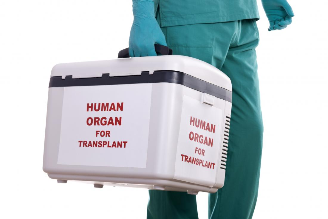 doctor carrying container of human organs for transplant