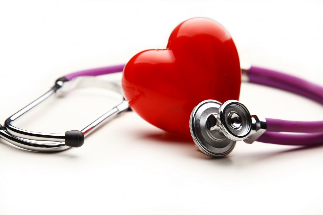 serum cholesterol represented by heart next to stethoscope.