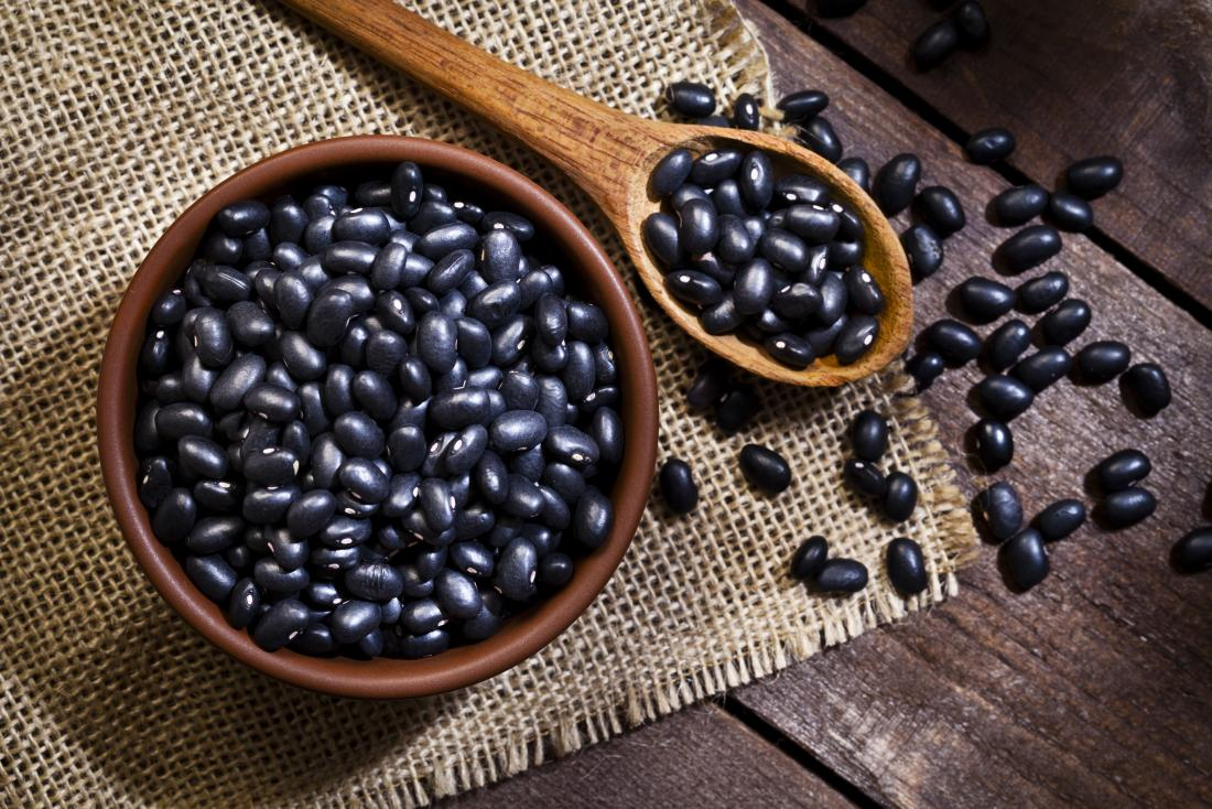 Black beans as high protein food for weight loss.
