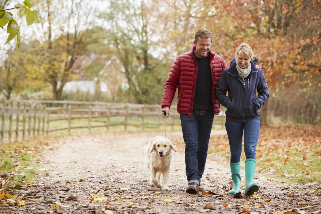 Couple walking a dog in the forest which may help to stop heart palpitations
