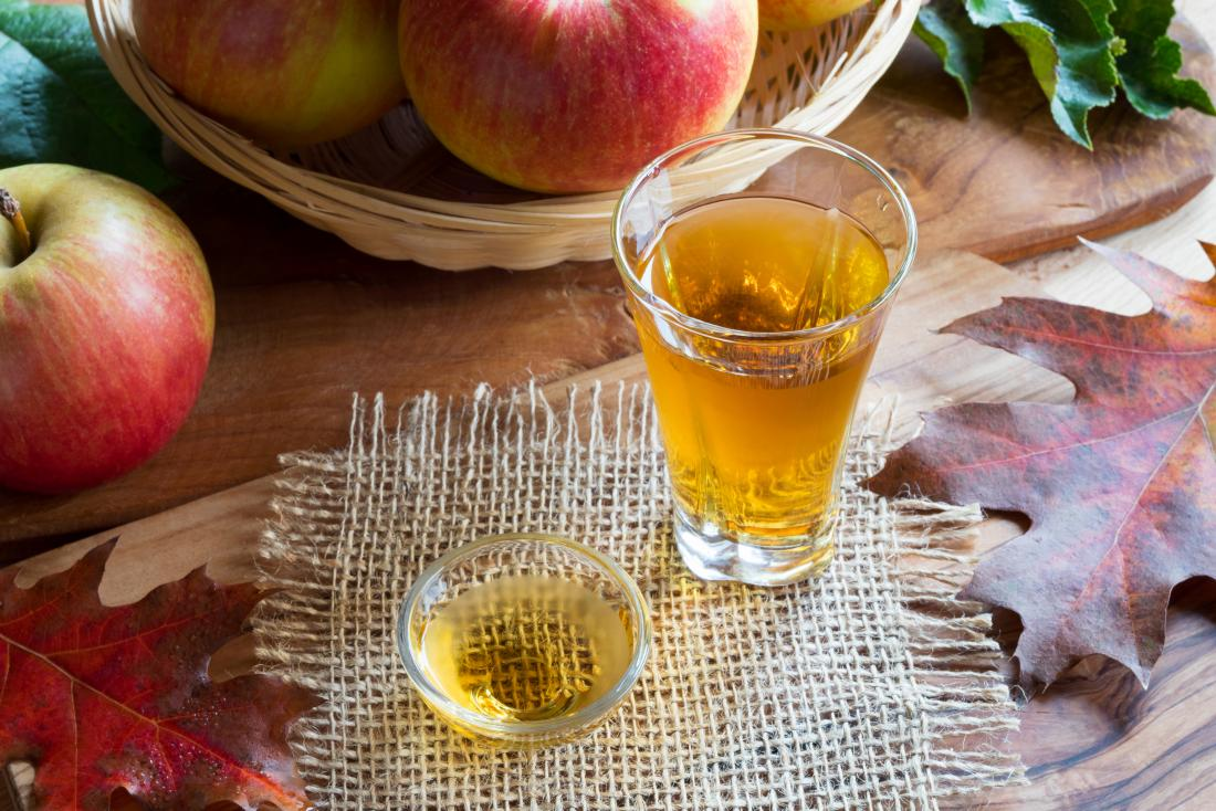 Apple cider vinegar in a glass