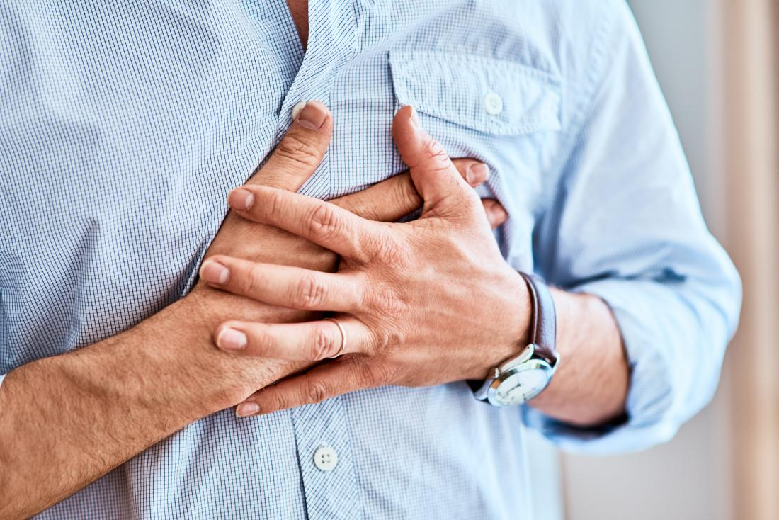 Fibromyalgia and chest pain in person holding their chest.