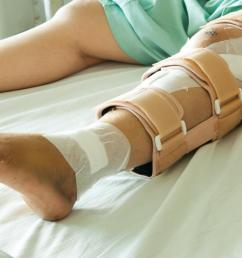 person with broken leg lying on hospital bed with brace and bandages [ 1100 x 730 Pixel ]