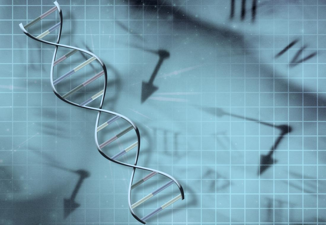 dna strand on clock background