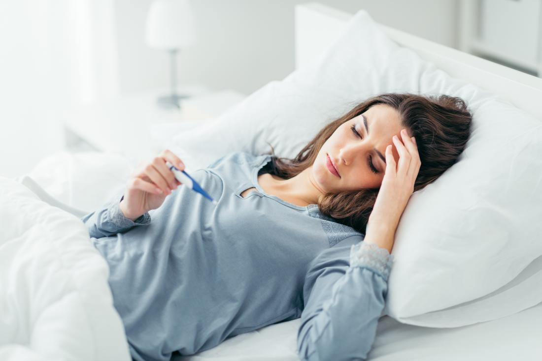 woman in bed measuring temperature with fever