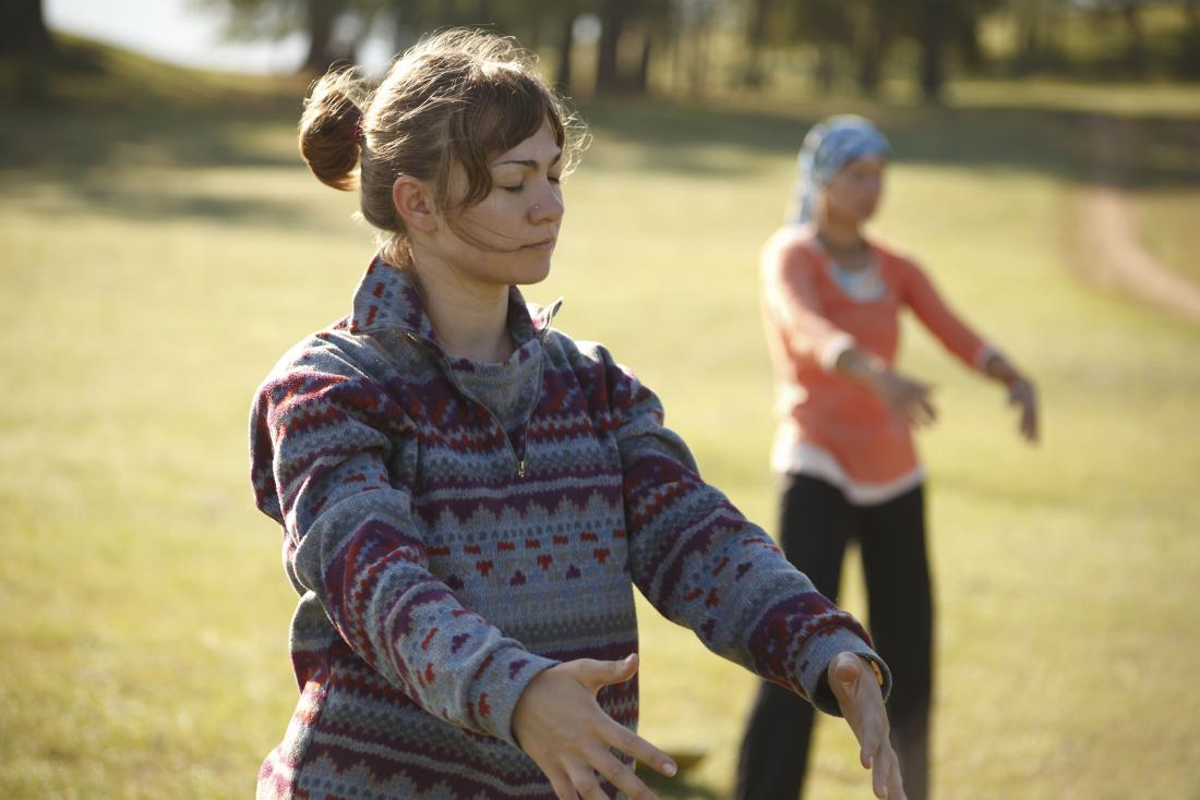 People practicing Practicing Qi Gong to correct qi deficiency