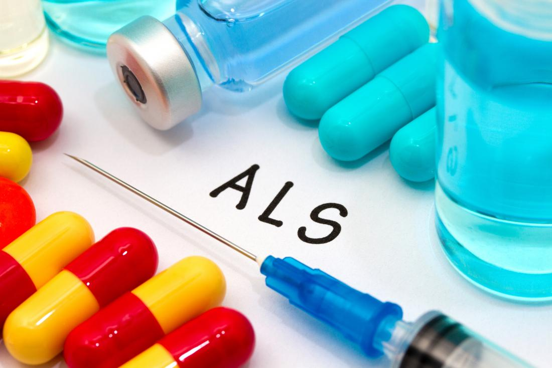 ALS concept with pills and injection